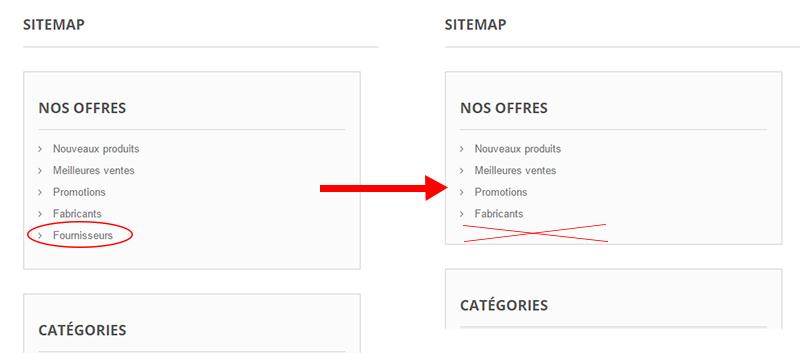 supprimer fournisseurs sitemap prestashop 1.6