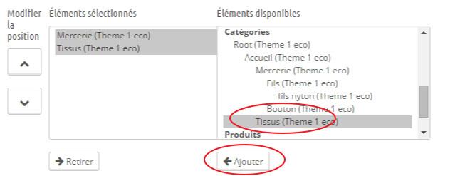 configurer menu