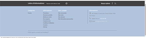 Modification des couleurs du fond du footer pour prestashop 1.6