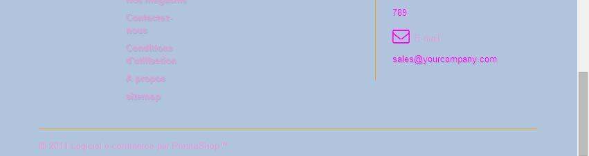 Modification de la couleur des traits de séparation des bloc du footer pour prestashop 1.6