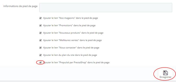 """Décocher Ajouter le lien """"Propulsé par PrestaShop"""" dans le pied de page"""