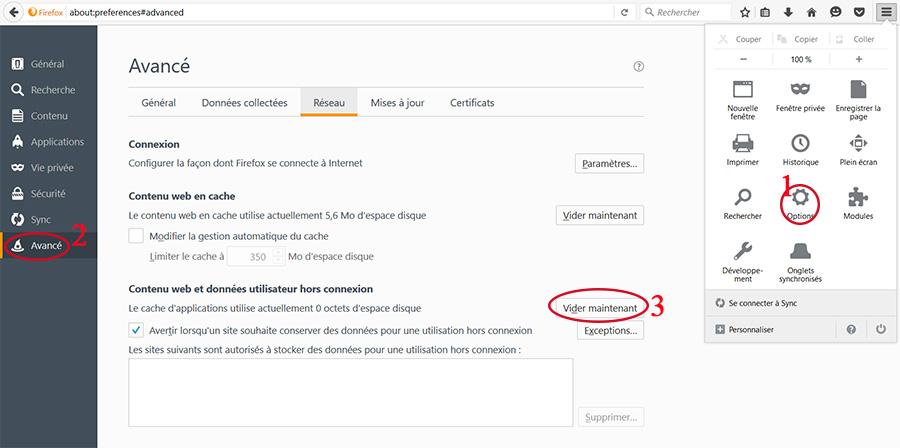 Vider le cache firefox Mozilla