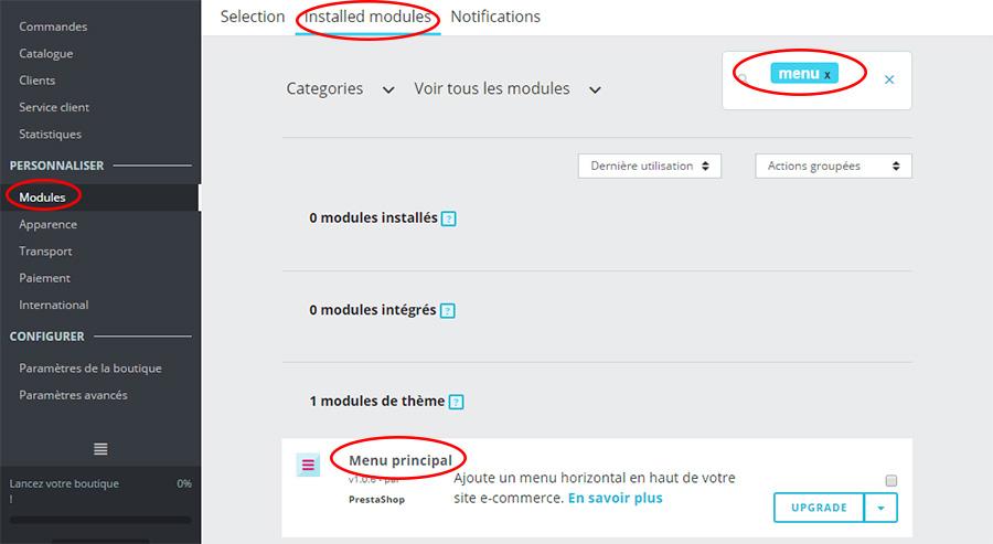 Recherche du module menu prestashop 1.7